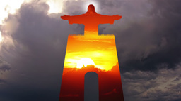 Cristo Rei and Sky. Timelapse Footage