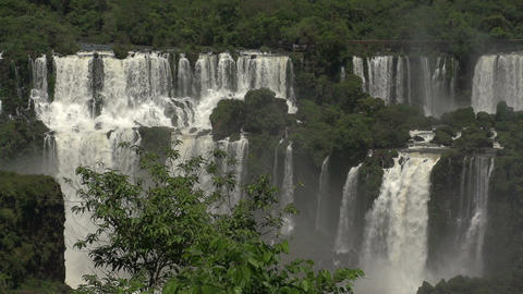 007 Iguazu waterfalls , viewed from Brazil , slowm Stock Video Footage