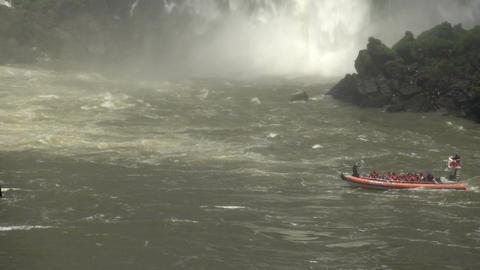 013 Iguazu waterfalls , big boat with tourists und Footage