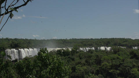 041 Iguazu waterfalls , viewed from Brazil , slowm Footage