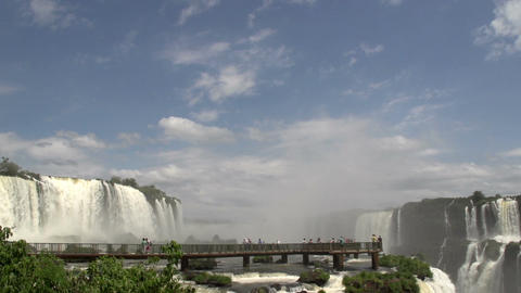 067 Iguazu waterfalls , viewed from Brazil , peopl Stock Video Footage