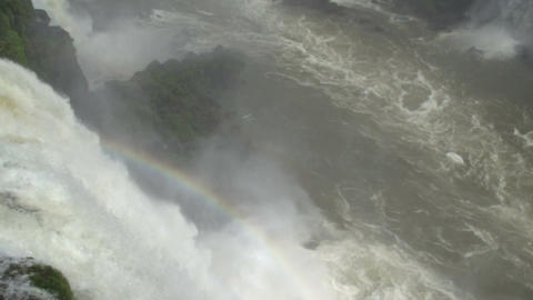 078 Iguazu waterfalls , viewed from Brazil , with Stock Video Footage