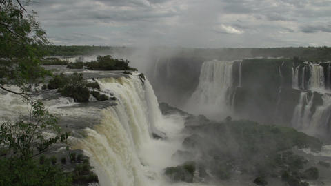 093 Iguazu waterfalls , viewed from Brazil Footage