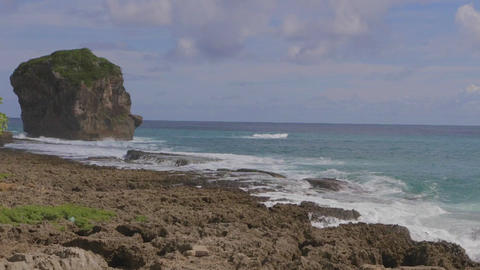sail rock (Nixon's head) at kenting beach 2 Stock Video Footage