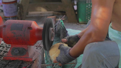 close-up - local Taiwanese man shaving coconut she Stock Video Footage