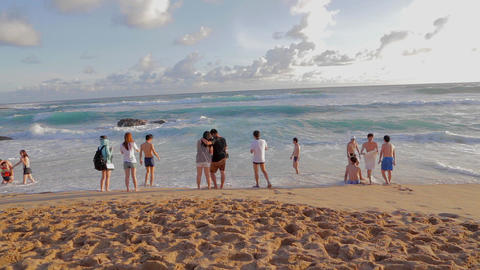 People at ocean secret beach Kenting Baisha (White Footage