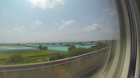view from high speed train from taipei to kaoshiun Stock Video Footage