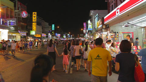 Pingtung Night Market - people shopping at night m Stock Video Footage
