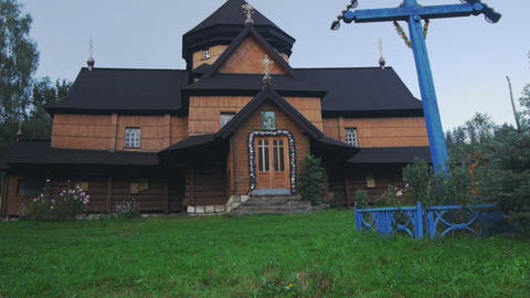Ukrainian national church. Carpathians village Kri Stock Video Footage