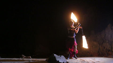 Artist turns the fiery fire-snakes fire performanc Footage