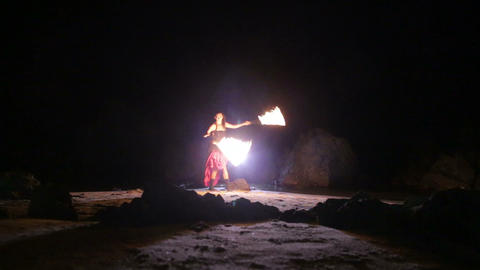 Artist turns the fire snakes performance Stock Video Footage