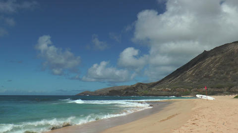 High Tide Is Coming In At Beautiful Hawaiian Beach stock footage