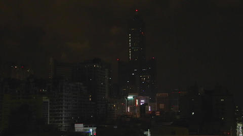 Kaohsiung 85 Building at night from balcony - clos Stock Video Footage