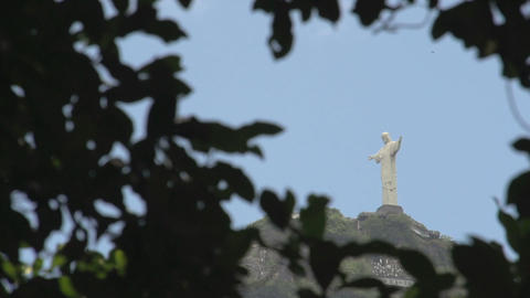 044 Rio , Christ the Redeemer on blue sky Stock Video Footage