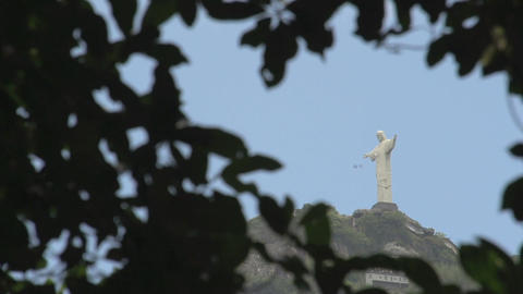 044 Rio , Christ the Redeemer on blue sky Footage
