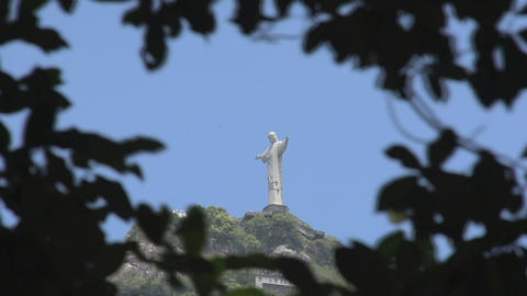 046 Rio , Christ the Redeemer on blue sky , timela Footage