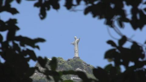 046 Rio , Christ the Redeemer on blue sky , timela Footage