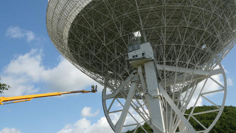 Worker Crane Renovate Huge Radio Telescope 11479 stock footage