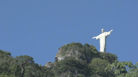 056 Rio , Christ the Redeemer on blue sky Stock Video Footage