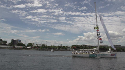 0102 Rio , Clipper boat leaves harber Stock Video Footage
