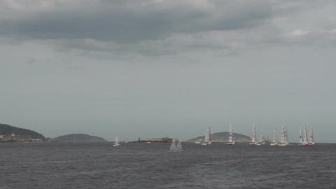 0109 Rio , Clipper boats on sea , timelapse Stock Video Footage