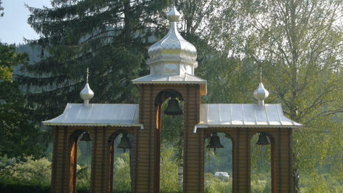 Ukrainian bell tower near the church Stock Video Footage