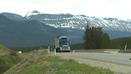HD2008-6-6-18 TCH semi truck summer traffic mtns Stock Video Footage