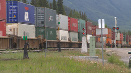 HD2008-6-6-64 intermodal train Stock Video Footage