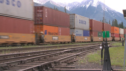 HD2008-6-7-1 Interodal train Banff fast Stock Video Footage