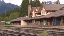HD2008-6-7-13 quiet train stn Banff Stock Video Footage