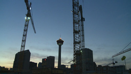 HD2008-6-8-8 dusk Calgary const site tower flame Footage