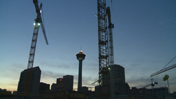HD2008-6-8-8 dusk Calgary const site tower flame Stock Video Footage