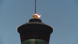 HD2008-6-8-10 dusk Calgary tower flame Footage