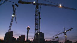 HD2008-6-8-12 dusk Calgary const site tower flame Stock Video Footage