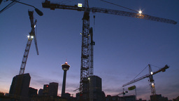 HD2008-6-8-12 dusk Calgary const site tower flame Footage