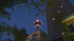 HD2008-6-8-14 dusk Calgary tower flame Z Footage