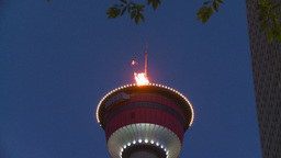 HD2008-6-8-14 dusk Calgary tower flame Z Stock Video Footage