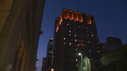 HD2008-6-8-16 dusk Calgary DT street tilt down Stock Video Footage