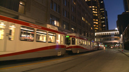 HD2008-6-8-18 dusk Calgary DT LRT Stock Video Footage