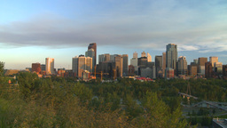HD2008-6-9-47 Calgary eveningskyline pan Footage
