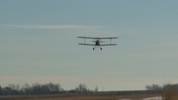 HD2008-3-1-4 Red biplane flyby Stock Video Footage