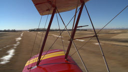 HD2008-3-1-8 Red biplane takeoff Stock Video Footage