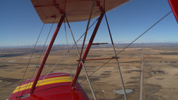 HD2008-3-1-10 Red biplane aerial wing left Stock Video Footage