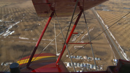 HD2008-3-1-12 Red biplane aerial wing left stunt Stock Video Footage