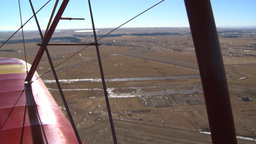 HD2008-3-1-14 Red biplane aerial wing left Footage