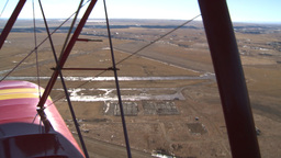 HD2008-3-1-14 Red biplane aerial wing left Stock Video Footage