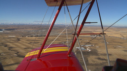 HD2008-3-1-18 Red biplane aerial wing left Footage