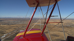 HD2008-3-1-18 Red biplane aerial wing left Stock Video Footage