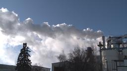 HD2008-3-1-22 steam exhaust industrial bdg Stock Video Footage