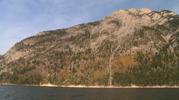 HD2008-10-1-15 lake boat ride autumn colors Stock Video Footage